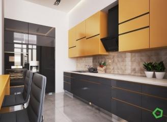 套内面积73㎡,以黄色为主色调的公寓设计